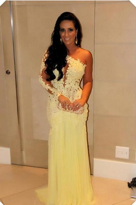 Hot Sale Yellow Prom Dresses 2015 One Shoulder Full Sleeve Sheer Back Sweep Train Tulle Applique 2016 Sheath Formal Dresses