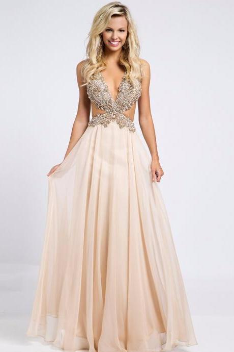 Youthful A-Line Chiffon V-Neck Hollow Sleeveless Sexy Backless 2016 Hot Long Prom Dresses Evening/Party Dress Formal Gowns