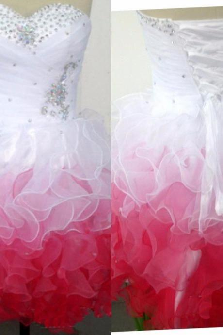 Cute Prom Dress Graduation Dresses sequins Sweetheart Neck Open Back Lace-Up Above Knee Ball Gown
