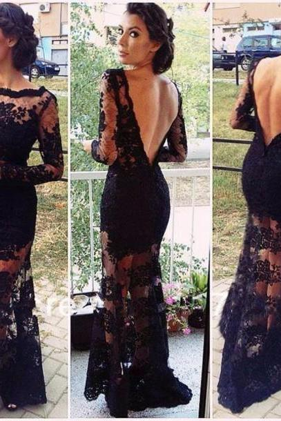 Black Lace Prom Dresses Long Sleeve With Appliques Open Back Sheath Floor Length Long Evening Party Dress robe de soiree