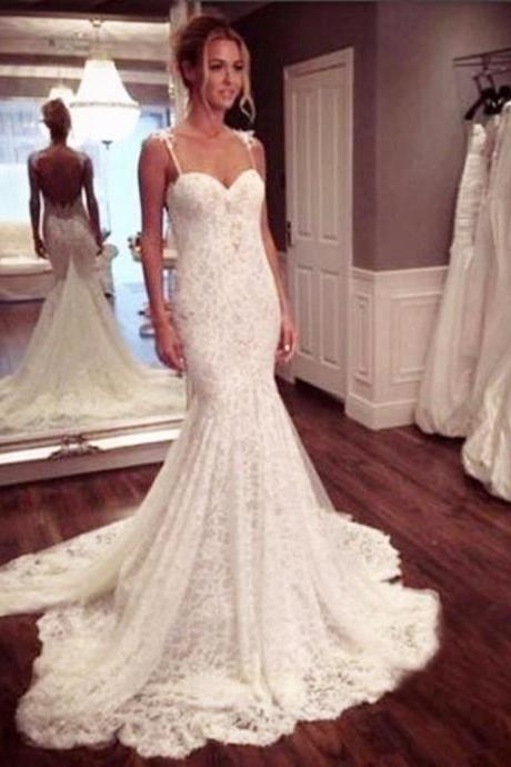 Sexy Spaghetti Straps Lace Mermaid Wedding Dresses 2016 Custom Made Real Simple Bodice Lace Backless Bridal Dress