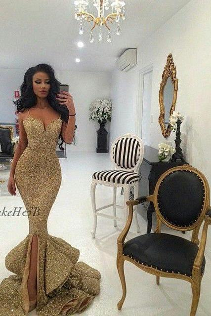 Luxury sparkling Gold Spaghetti Straps Mermaid evening Dresses front slit sequined backless formal gown 2016 prom dress vestidos