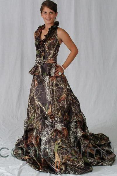 Camo Wedding Dresses Scoop Lace-up Vestido De Noiva Custom Made Bridal Gown Wedding Dress