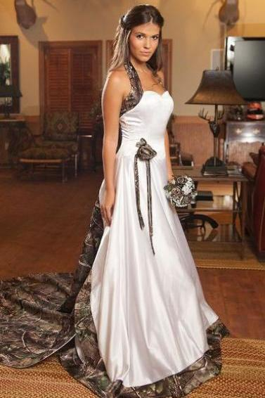 Camo Wedding Dresses White Halter Lace-up Vestido De Noiva Custom Made Bridal Gown Wedding Dress