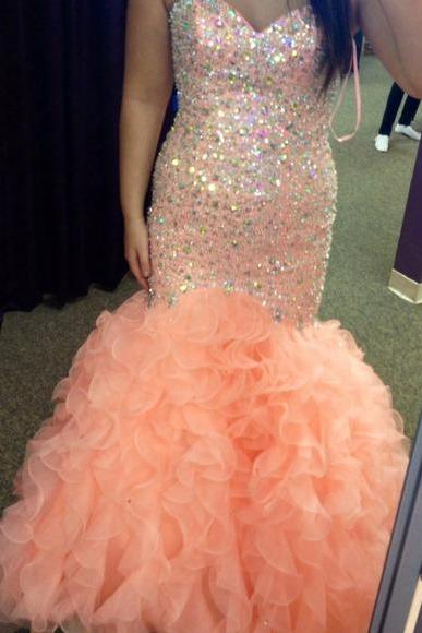 Prom Dresses Sexy Luxury Sparkle Bling Mermaid Orange Crystal Party Dress Gowns Prom Dress Sleeveless Formal Dresses