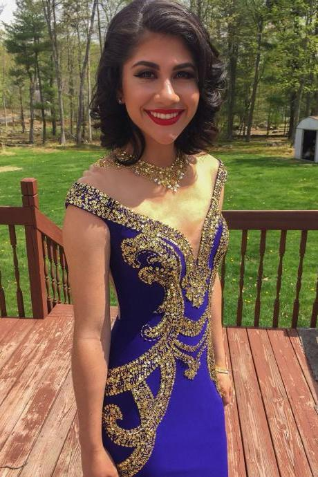Sexy See Through Back Bling Gold Crystal Prom Dress Custom Made Mermaid Royal Blue Crystal Evening Dresses