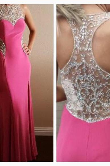 Prom Dresses Sexy Cheap Mermaid Fuchsia Rhinestones Beads Sheer Back Prom Dress Formal Dress Evening Dress Party Prom Gowns