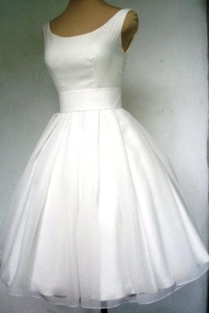 1950S Vintage Ball Gown Wedding Dresses Crew Neck Mini Short Bridal Gowns