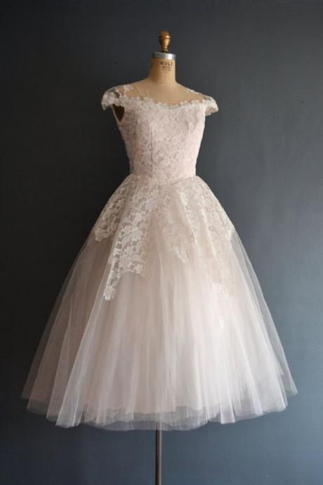 1950S Vintage Ball Gown Wedding Dresses Crew Neck Lace Accents Mini Short Brdial Gowns