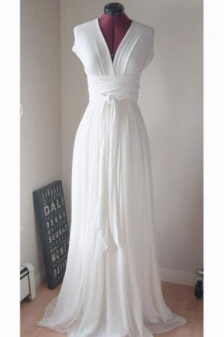 1950S Vintage Chiffon Wedding Dresses Deep V Neck Brdial Gowns