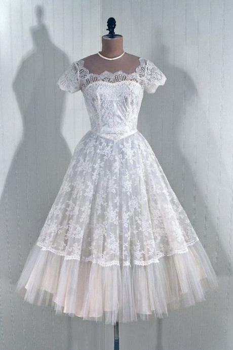 1950S Vintage Ball Gown Lace Beach Wedding Dresses Cap Sleeve Mini Short Brdial Gowns