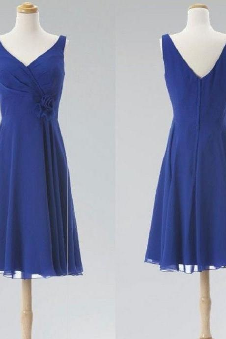 A-line V-neck Flower Embellished Sleeveless Knee-length Royal Blue Chiffon Wedding Party Dresses,Bridesmaid Dresses
