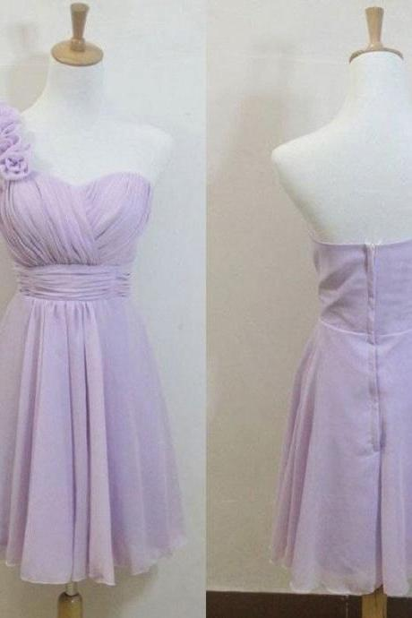 A-line Flowers Embellished One Shoulder Neck Mini Length Lilac Tulle Short Bridesmaid Dresses,Wedding Party Gowns