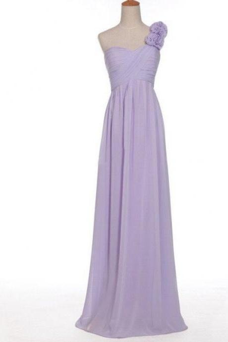 A-line One Shoulder Neck Sleeveless Ruched Embellished Empire Waist Floor-length Lilac Chiffon Bridesmaid Dresses