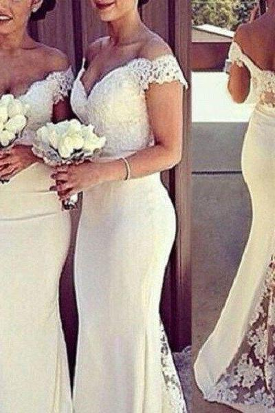 Mermaid Off the shoulder Appliqued Beaded Sleeveless Sweep Train Ivory Tulle Bridesmaid Dresses