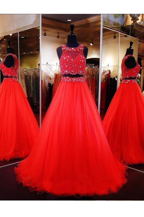 Two Piece Ball Gown Prom/Evening Dress Red Floor-Length Tulle Crystal Beading