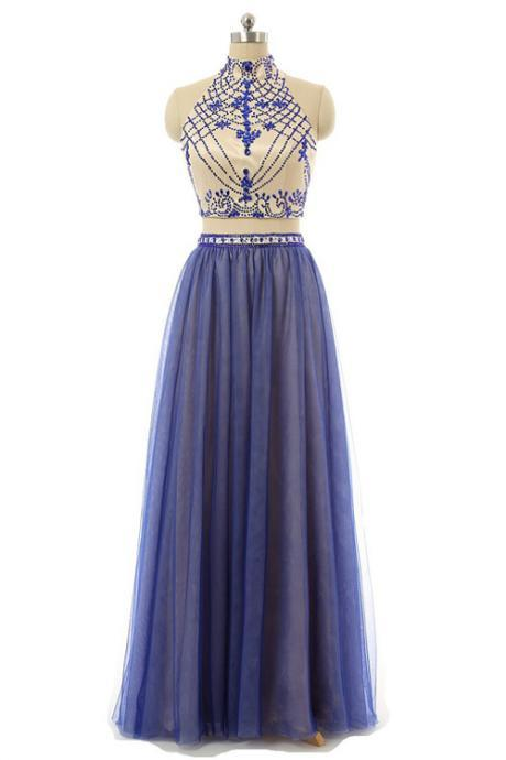 Sexy Two Piece Prom/Evening Dress Blue Floor-Length Backless Tulle Beading