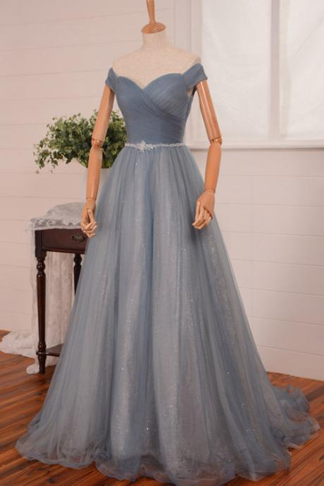 Sexy off-shoulder Sweep Train Backless Blue Prom Dress With Sequined