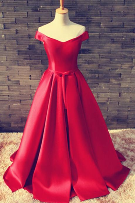 Gorgeous Off Shoulder Floor Length Satin Red Prom/Evening Dress With Belt