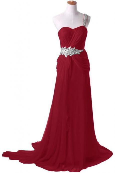 Elegant One Shoulder A-line Long Chiffon Burgundy Prom Dress With Beading Watteau Train