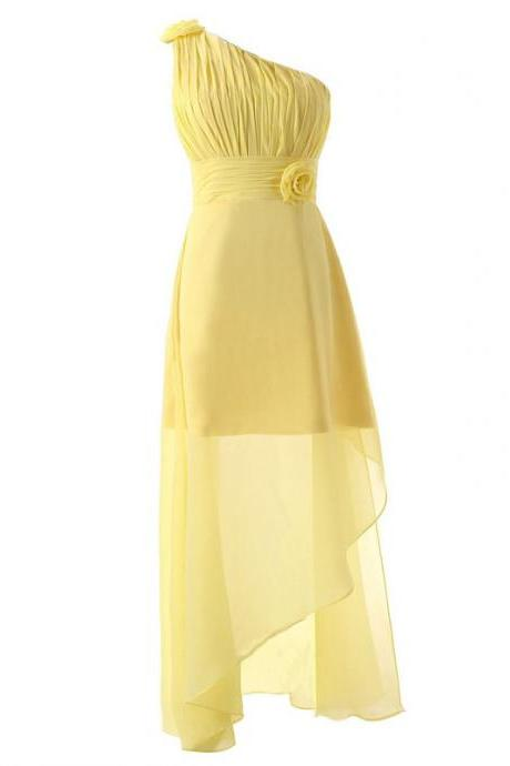 Yellow Long Chiffon Bridesmaid Dress Featuring Ruched One Shoulder Bodice with Floral Accent