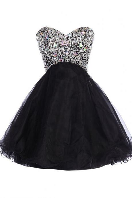 Mini Short Prom Dress Party Dress Exquisite A-line Sweetheart Tulle Sequined Short Homecoming Dress