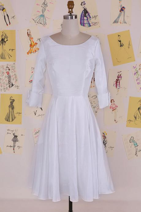 Simple Cowl Tea-Length White Backless Prom Dress With Long Sleeves