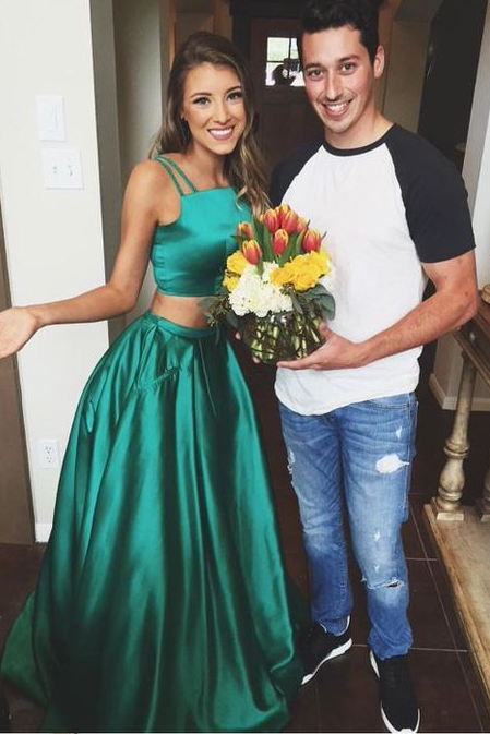 green Evening Dress,two pieces Prom Dress,long prom dress,party dress for girls,evening gown