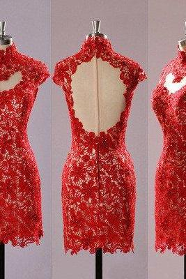 lace Homecoming dress,short homecoming Dresses,red prom dress,high neck backless prom dress