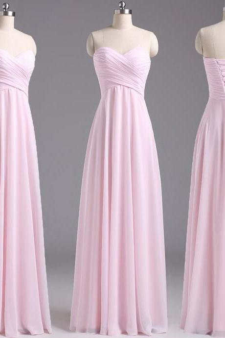 Custom Made Pink Ruched Sweetheart Neckline Long Chiffon Evening Dress with Lace-Up on the Back, Bridesmaid Dress, Prom Dresses, Cocktail Dress