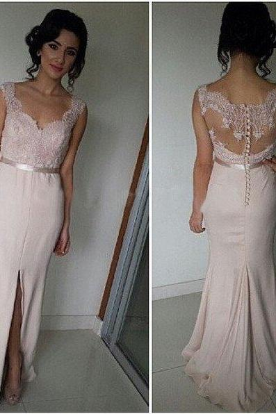 long bridesmaid dress,blush pink bridesmaid dress,Cheap bridesmaid dress,side slit prom dress