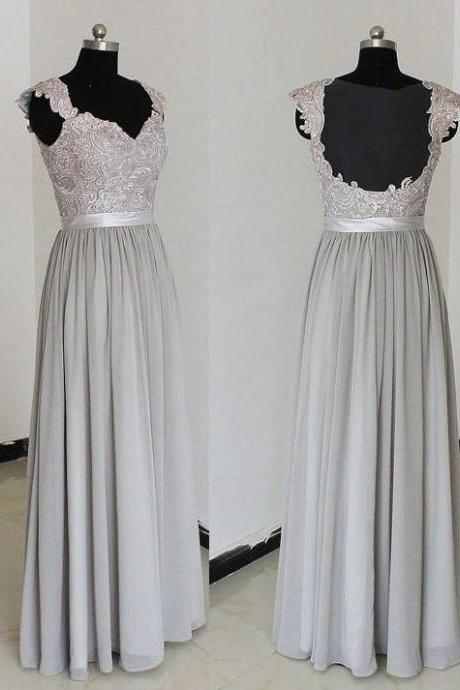 Custom Made Gray Lace Applique Long Chiffon Evening Dress with Open Back, Bridesmaid Dress, Prom Dresses, Cocktail Dress