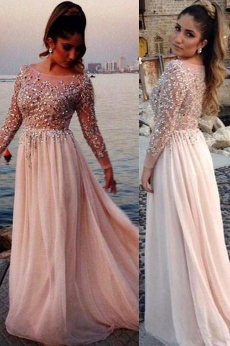 long sleeves prom dress,beaded prom dress,modest prom dress,,2017 Formal Gown,floor-length evening dress