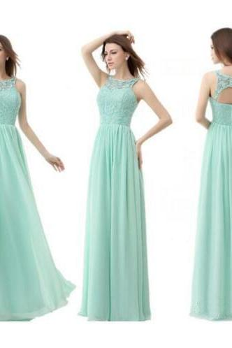 Custom Made Mint Green Illusion Neckline Long Chiffon Evening Dress with Open Back, Bridesmaid Dress, Prom Dresses, Cocktail Dress