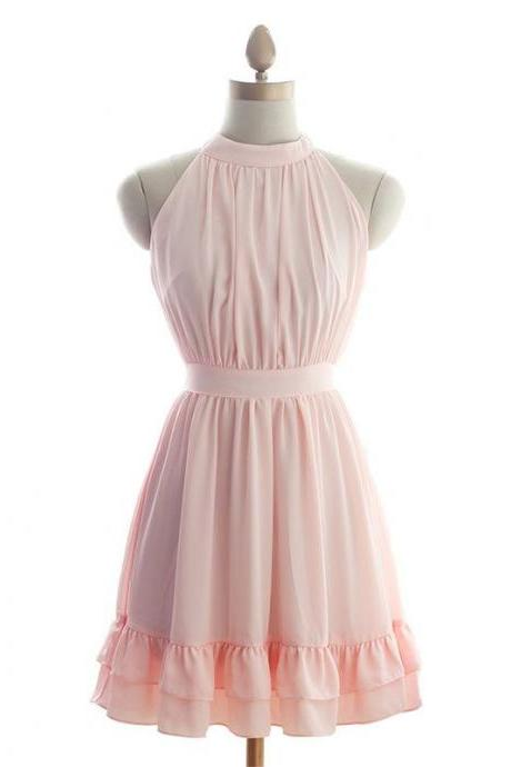 Custom Made Pink Chiffon High Neck Ruffle Short Evening Dress , Bridesmaid Dress, Homecoming Dresses, Cocktail Dress