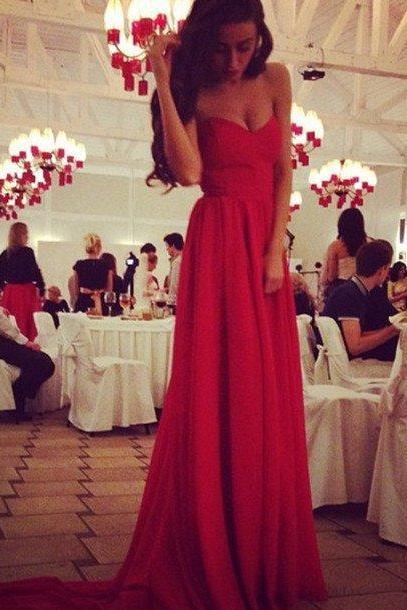 red prom dress,sweetheart Prom Dress,long prom dress,chiffon prom dress,evening dress