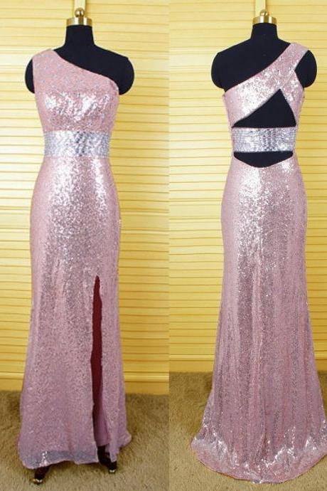 rose gold prom dress,long Prom Dress,sequin evening gown,one shoulder evening gown,side slit prom gown