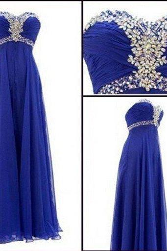 Royal blue prom Dress,Charming Prom Dress,Sweetheart prom dress,Chiffon prom dress,Long prom dress