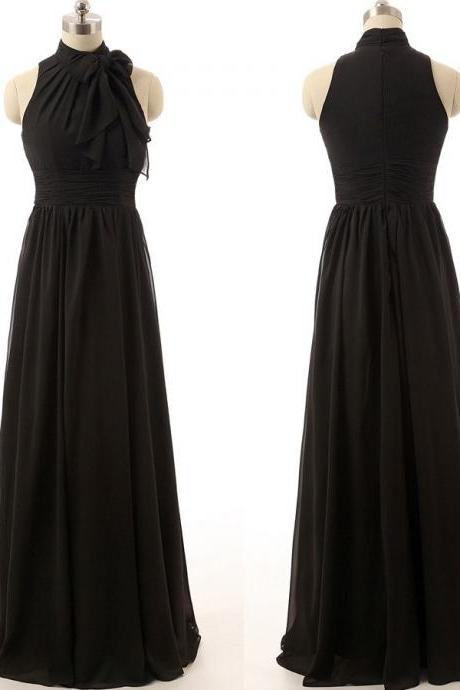 Custom Made Black High Neck with Ribbon Chiffon Evening Dress, Wedding Dresses, Bridesmaid Dresses, Graduation Dresses