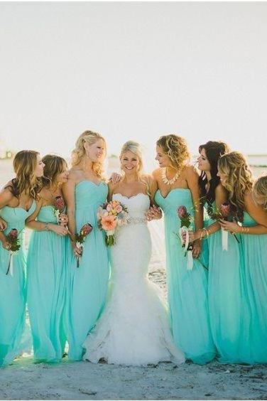 Custom Made Light Blue Sweetheart Neckline Chiffon Long Draped Evening Dress, Bridesmaid Dress, Prom Dresses, Cocktail Dress