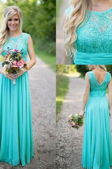 Custom Made Light Blue V-Back Lace Long Chiffon Evening Dress, Bridesmaid Dress, Prom Dresses, Cocktail Dress