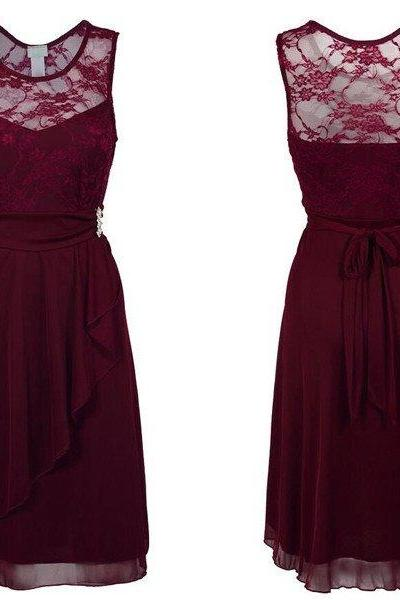 Burgundy Lace Sweetheart Illusion Short Chiffon A-Line Bridesmaid Dress Featuring Bow Accent Belt