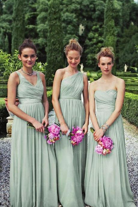Dusty Green bridesmaid dress,Long bridesmaid dress,Mismatched bridesmaid dress,Chiffon bridesmaid dress