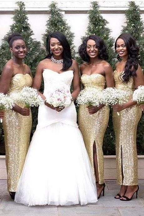 gold sequin bridesmaid dress,long bridesmaid dress,sweetheart bridesmaid dress,slit bridesmaid dress