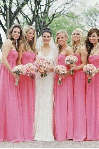 pink bridesmaid dress,long bridesmaid dress,chiffon bridesmaid dress,cheap bridesmaid dress