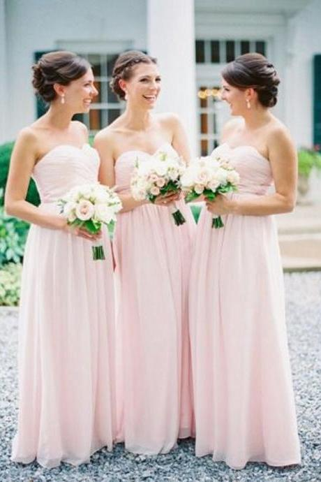 light pink bridesmaid dress,long bridesmaid dress,chiffon bridesmaid dress,sweetheart bridesmaid dresses