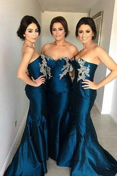Custom Made Blue Sweetheart Neckline Crystal Beaded Floor-Length Mermaid Dress, Prom Dress, Formal Cocktail Dress, Bridesmaid Dresses , Weddings