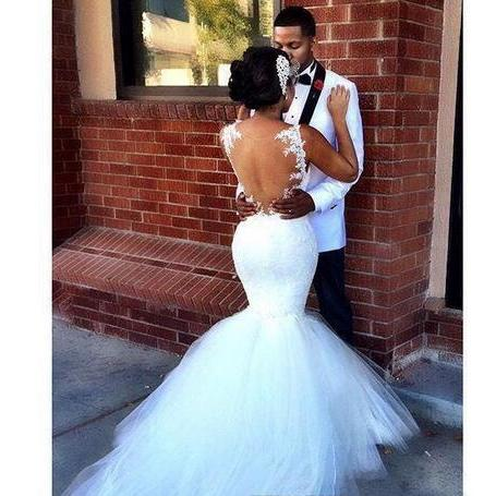 African Mermaid Lace Wedding Dresses Illusion Back Lace Applique Bridal Gowns Tulle Puffy Train Garden Church Wedding Gown