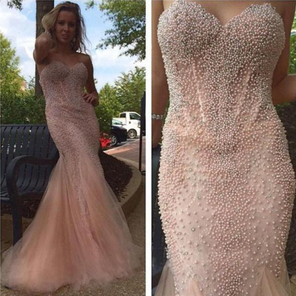 Luxury Full Beaded Sweetheart Neck Sleeveless Mermaid Prom Dress Elegant Evening Dress Floor Length Special Occasion Dress
