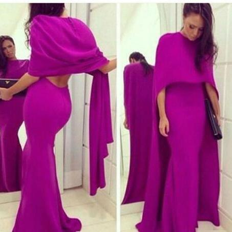 Fuschia Chiffon Mermaid Arabic Evening Party Dress With Cape 2018 Sexy Backless Plus Size Formal Prom Occasion Gown Vestidos De Novia Cheap